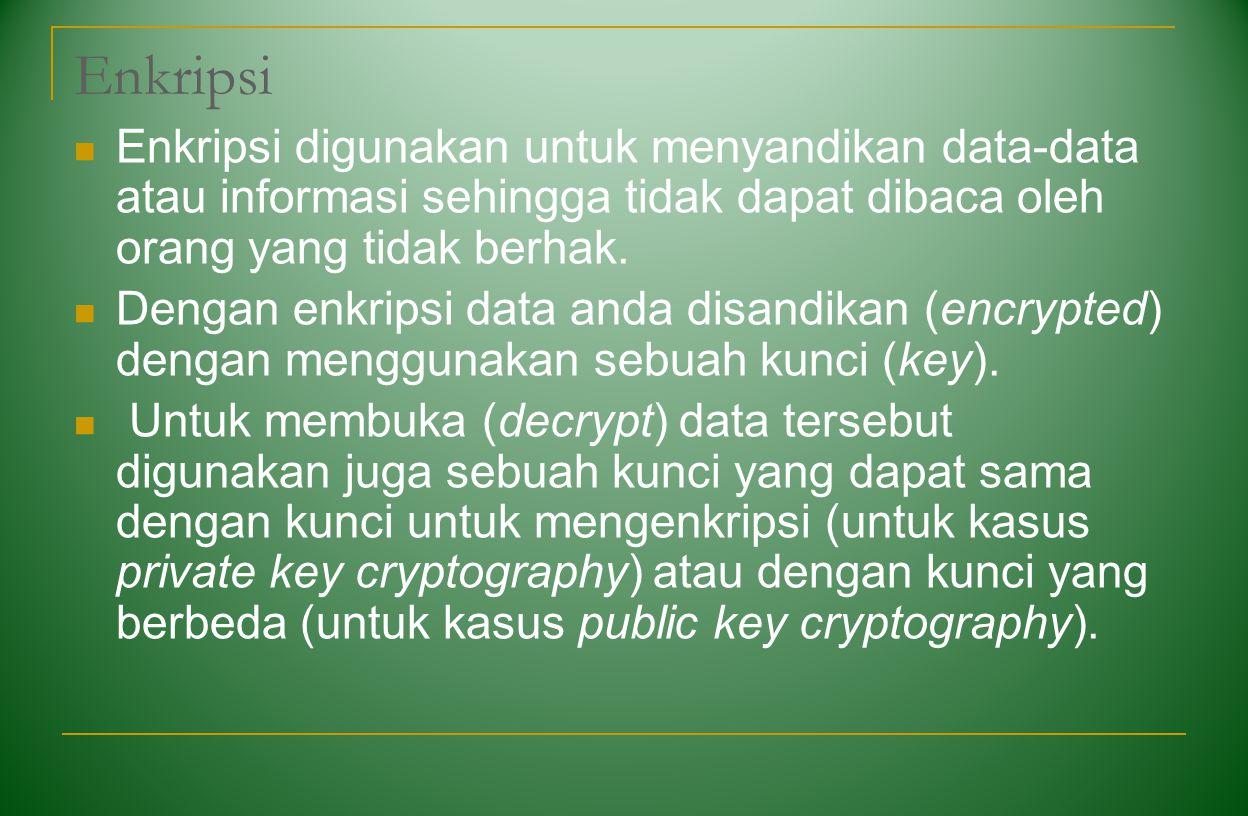Enkripsi Enkripsi digunakan untuk menyandikan data-data atau informasi sehingga tidak dapat dibaca oleh orang yang tidak berhak.