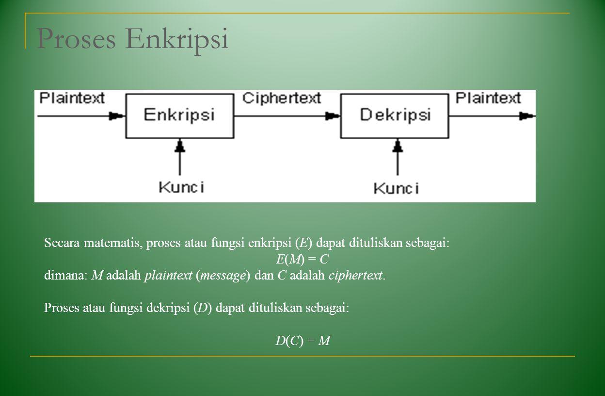 Proses Enkripsi Secara matematis, proses atau fungsi enkripsi (E) dapat dituliskan sebagai: E(M) = C.