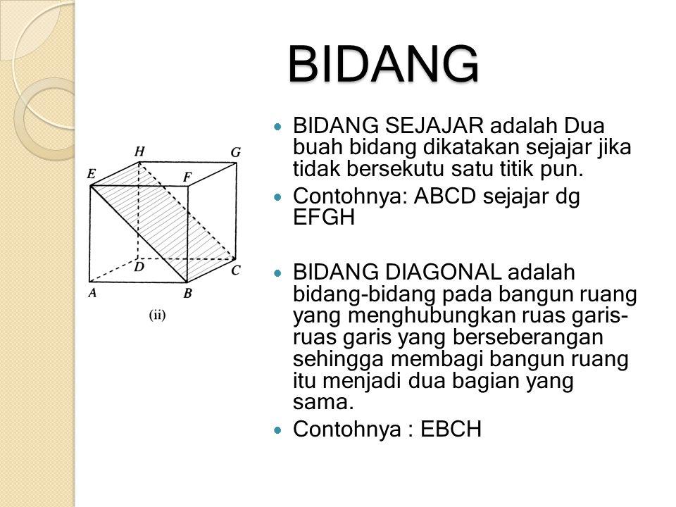 BIDANG BIDANG SEJAJAR adalah Dua buah bidang dikatakan sejajar jika tidak bersekutu satu titik pun.