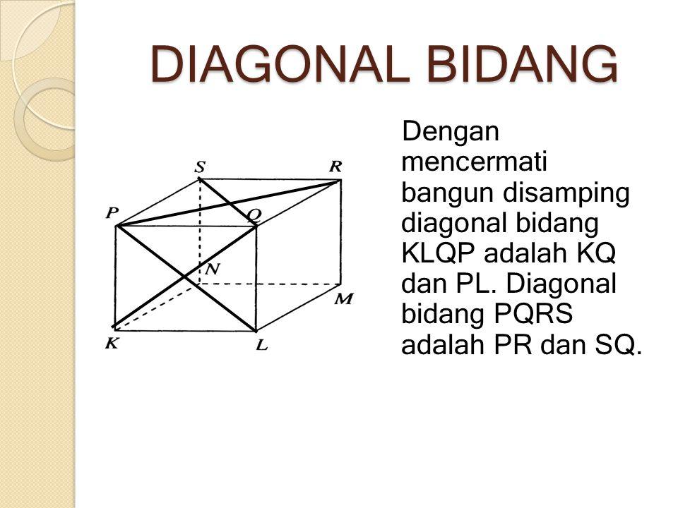 DIAGONAL BIDANG Dengan mencermati bangun disamping diagonal bidang KLQP adalah KQ dan PL.