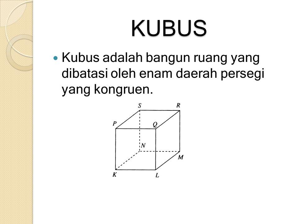 KUBUS Kubus adalah bangun ruang yang dibatasi oleh enam daerah persegi yang kongruen.