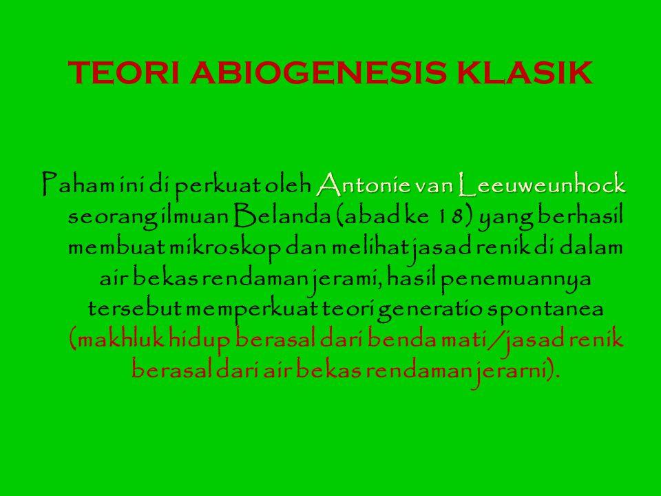TEORI ABIOGENESIS KLASIK