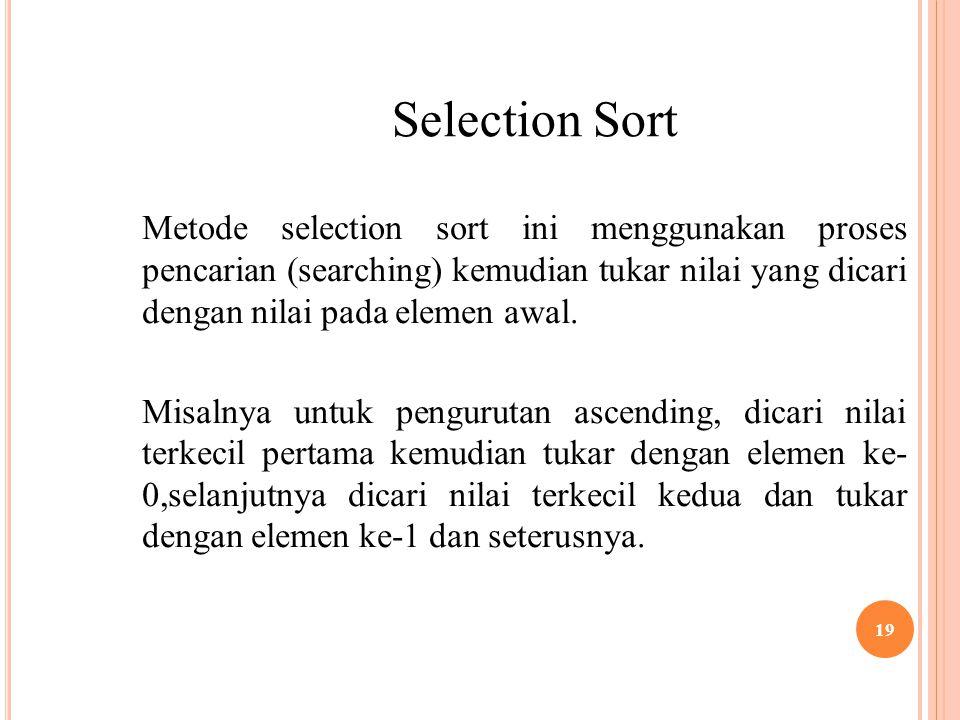 Selection Sort Metode selection sort ini menggunakan proses pencarian (searching) kemudian tukar nilai yang dicari dengan nilai pada elemen awal.