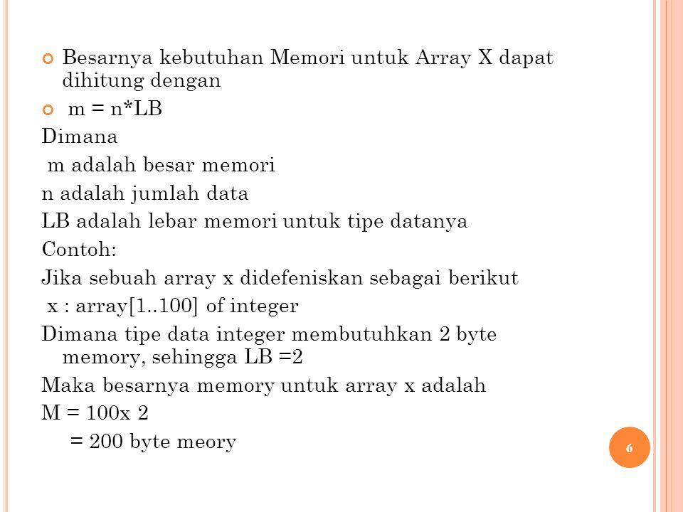 Besarnya kebutuhan Memori untuk Array X dapat dihitung dengan