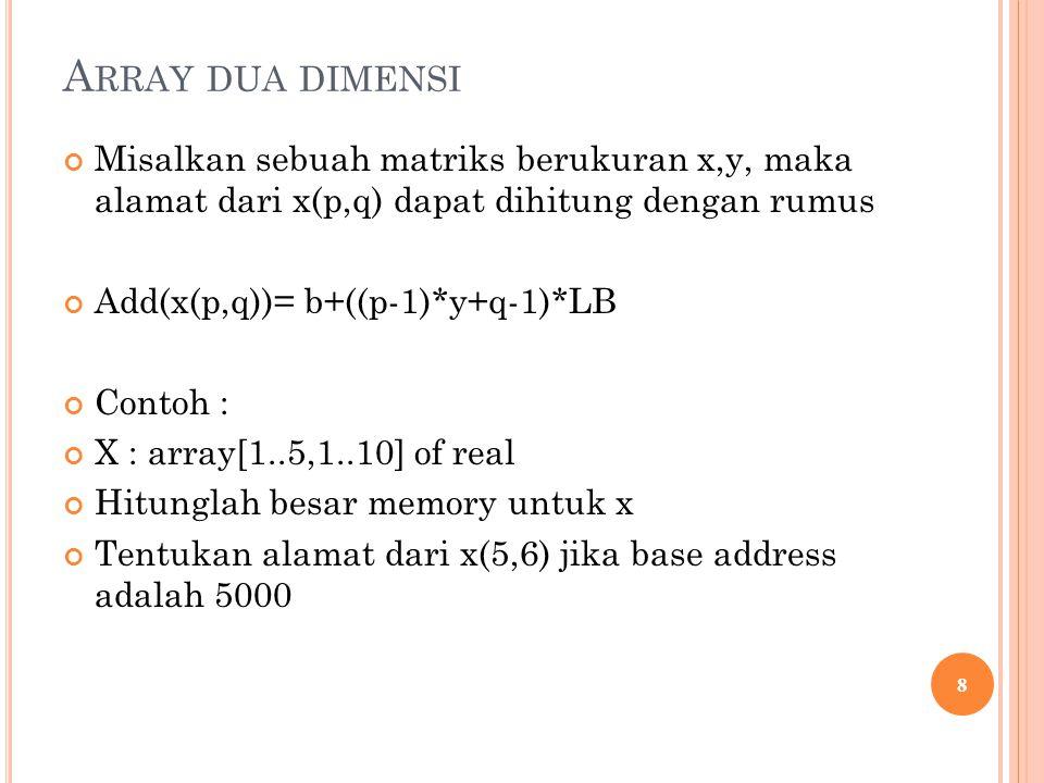 Array dua dimensi Misalkan sebuah matriks berukuran x,y, maka alamat dari x(p,q) dapat dihitung dengan rumus.