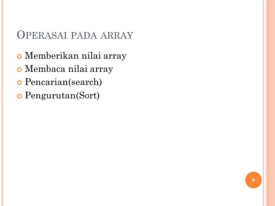 Operasai pada array Memberikan nilai array Membaca nilai array