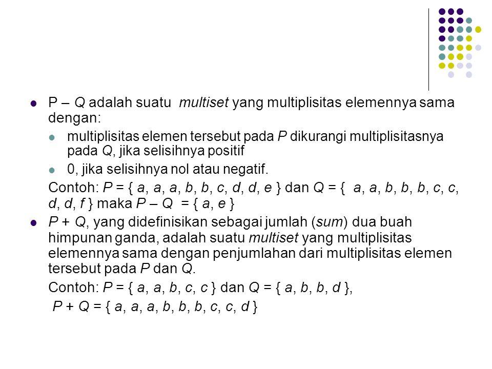 P – Q adalah suatu multiset yang multiplisitas elemennya sama dengan:
