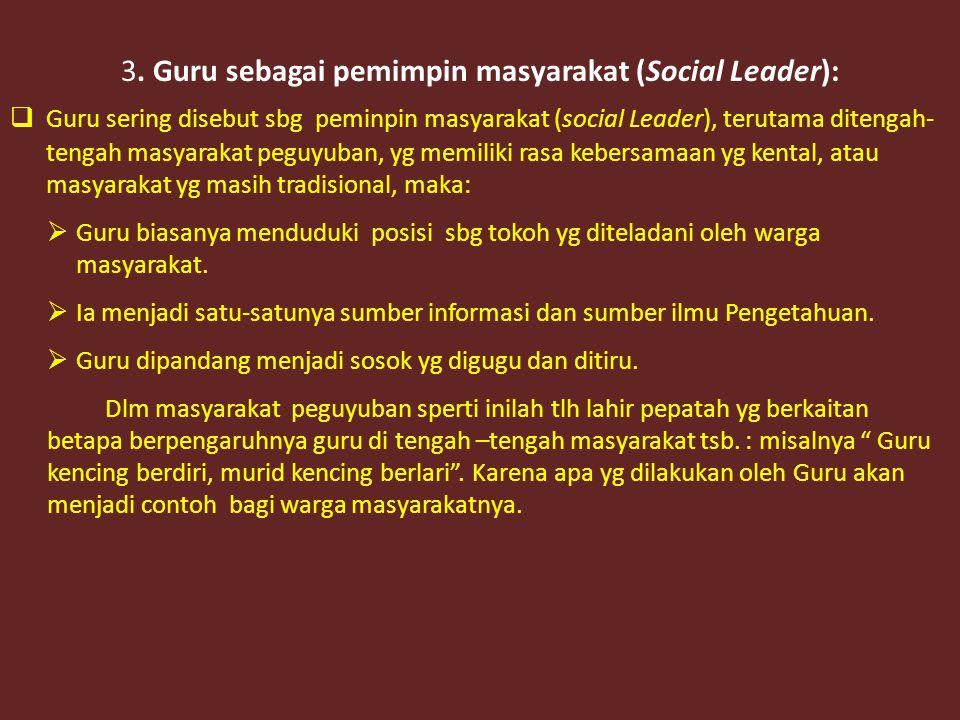 3. Guru sebagai pemimpin masyarakat (Social Leader):