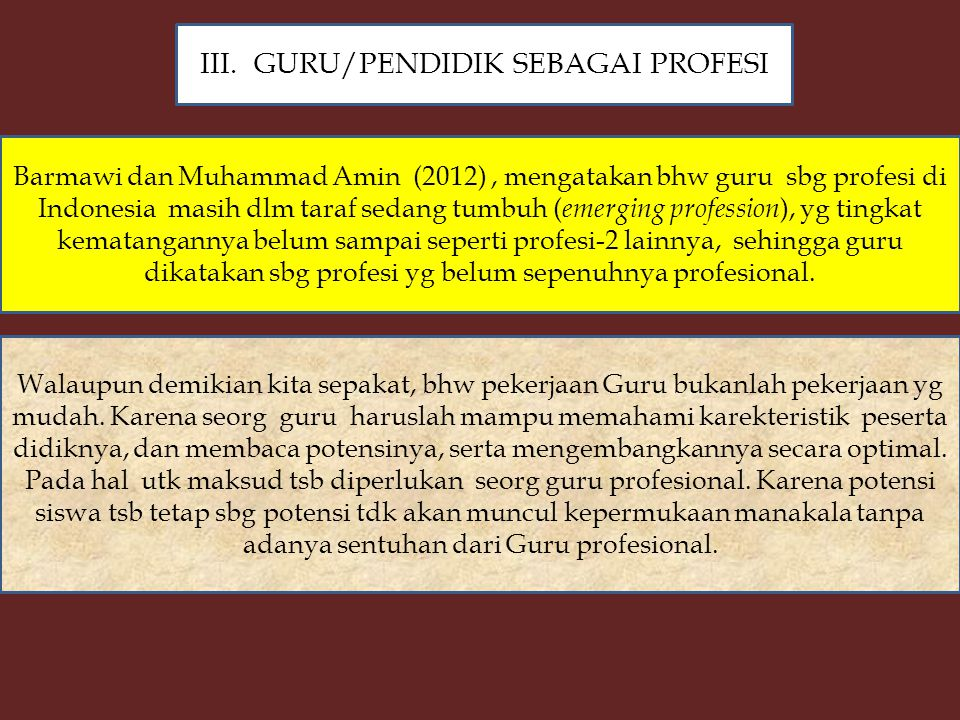 GURU/PENDIDIK SEBAGAI PROFESI