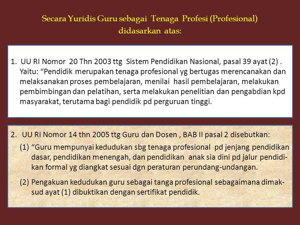 Secara Yuridis Guru sebagai Tenaga Profesi (Profesional) didasarkan atas: