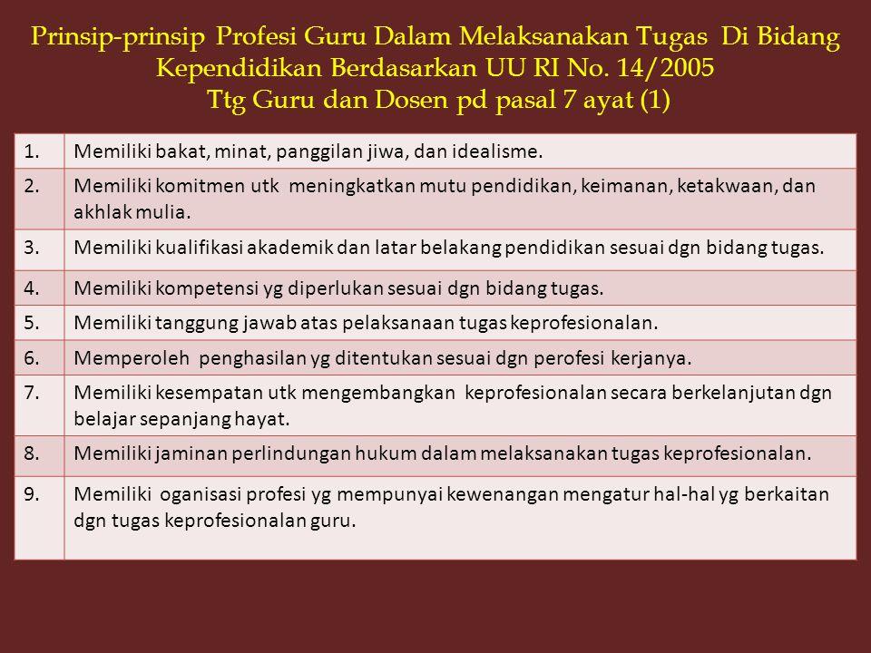 Prinsip-prinsip Profesi Guru Dalam Melaksanakan Tugas Di Bidang Kependidikan Berdasarkan UU RI No. 14/2005 Ttg Guru dan Dosen pd pasal 7 ayat (1)