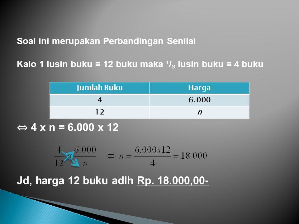 ⇔ 4 x n = 6.000 x 12 Jd, harga 12 buku adlh Rp. 18.000,00-