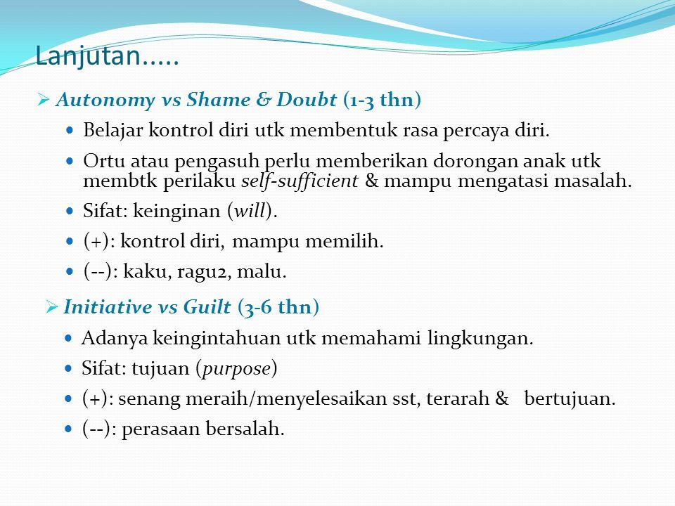 Lanjutan..... Autonomy vs Shame & Doubt (1-3 thn)