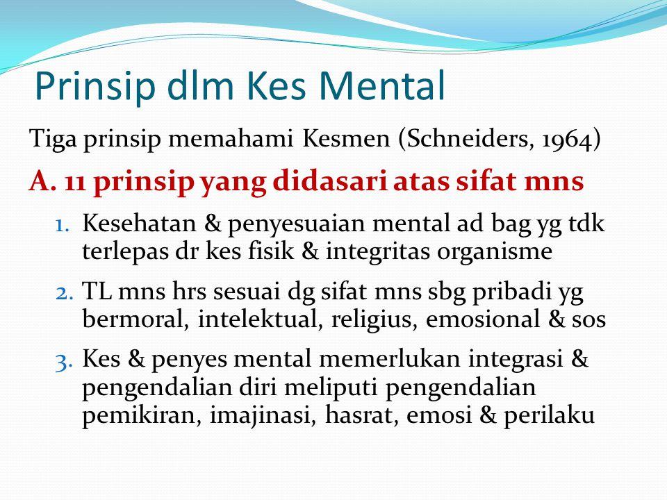Prinsip dlm Kes Mental A. 11 prinsip yang didasari atas sifat mns