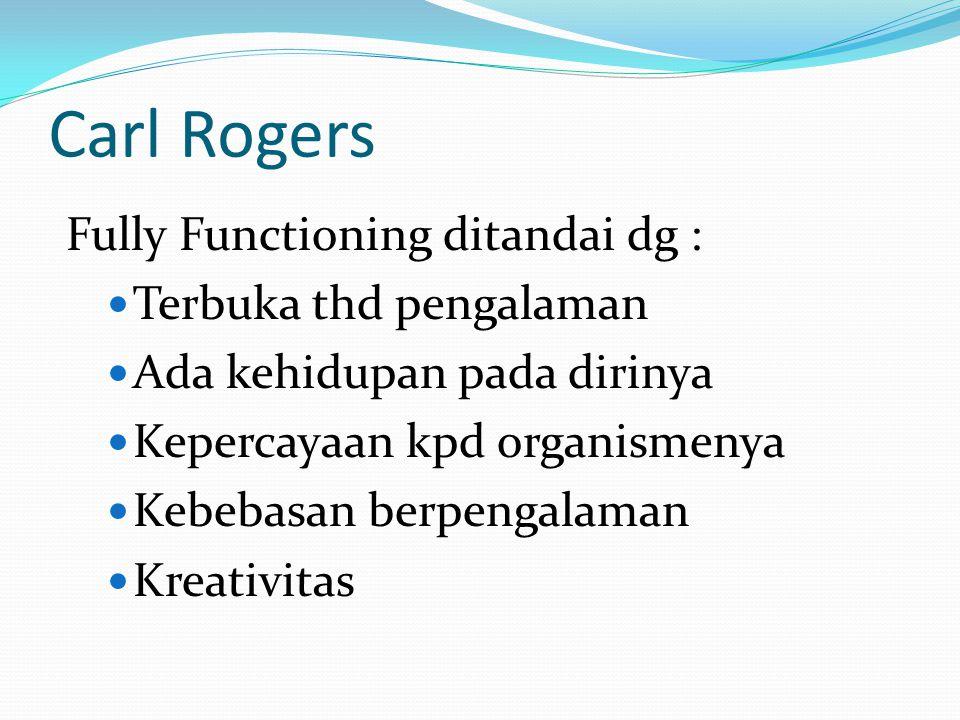 Carl Rogers Fully Functioning ditandai dg : Terbuka thd pengalaman
