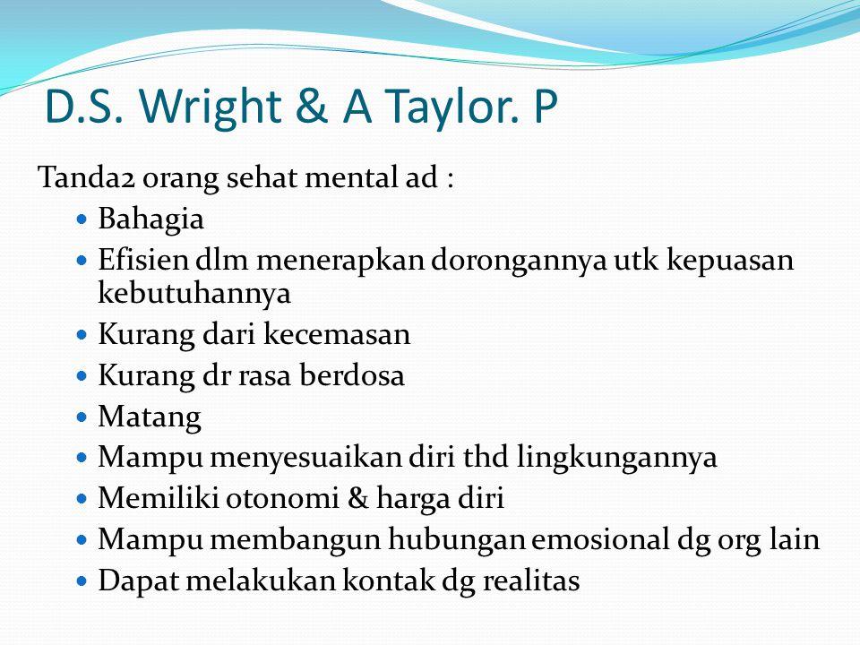 D.S. Wright & A Taylor. P Tanda2 orang sehat mental ad : Bahagia