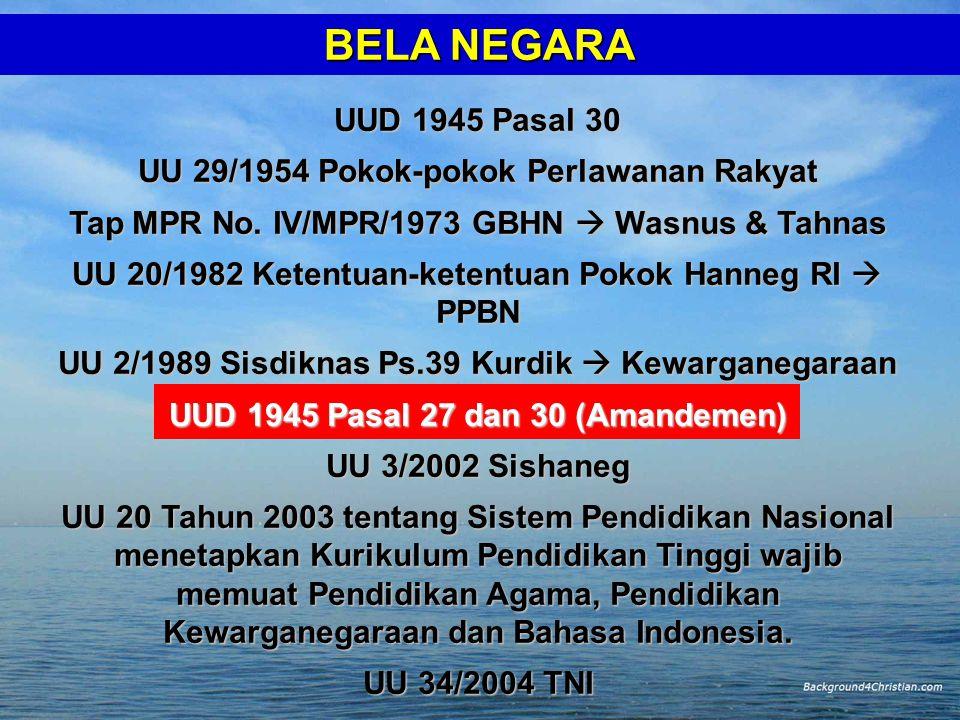 BELA NEGARA UUD 1945 Pasal 30 UU 29/1954 Pokok-pokok Perlawanan Rakyat