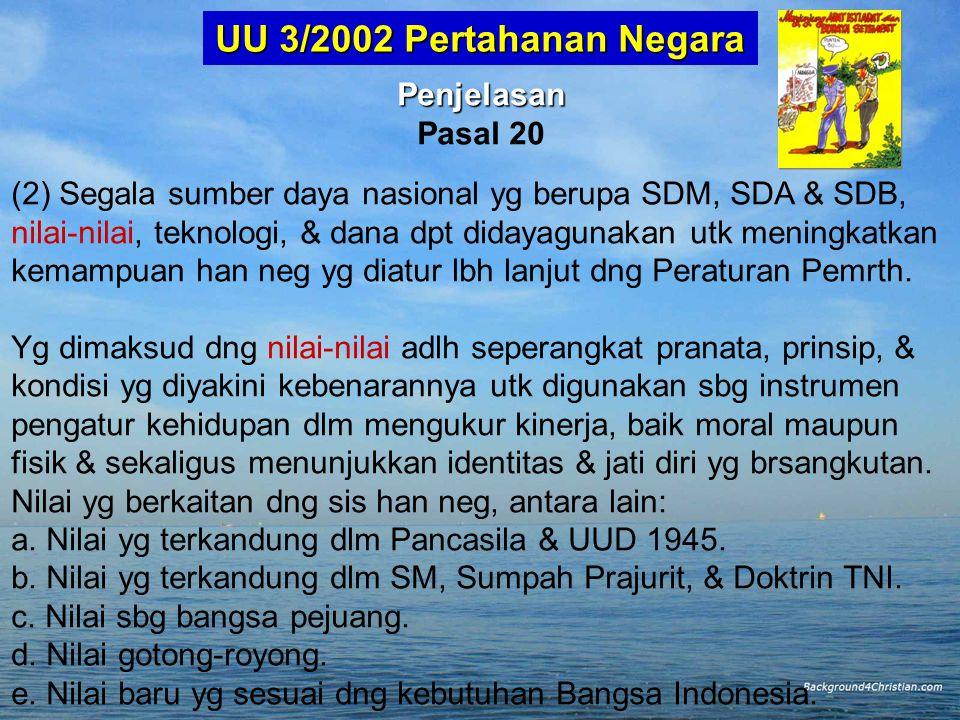 UU 3/2002 Pertahanan Negara Penjelasan Pasal 20
