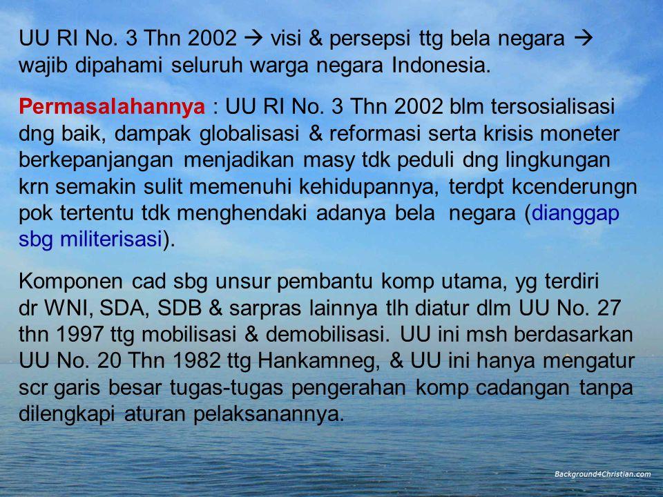 UU RI No. 3 Thn 2002  visi & persepsi ttg bela negara 