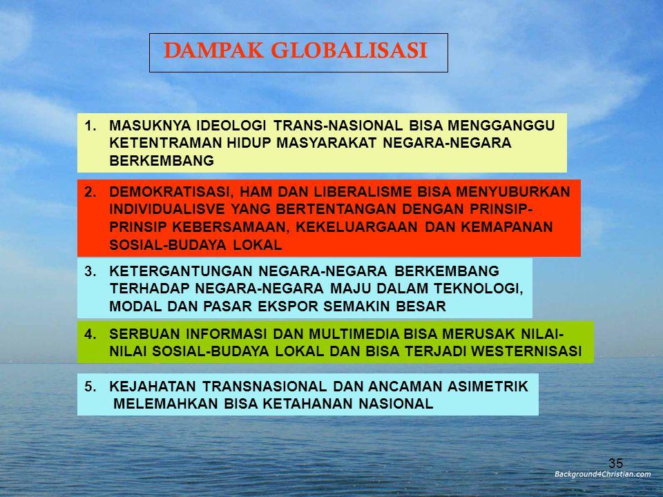 DAMPAK GLOBALISASI 1. MASUKNYA IDEOLOGI TRANS-NASIONAL BISA MENGGANGGU