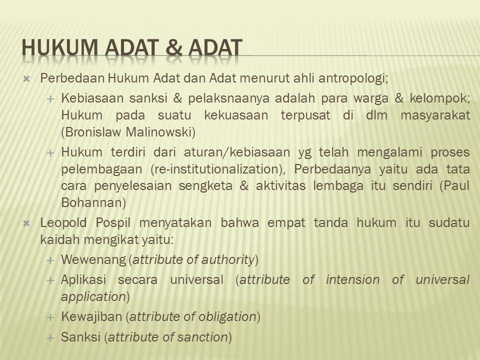 Hukum adat & Adat Perbedaan Hukum Adat dan Adat menurut ahli antropologi;