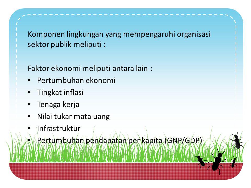 Faktor ekonomi meliputi antara lain : Pertumbuhan ekonomi
