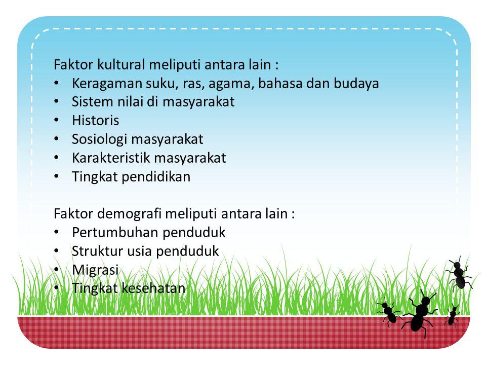 Faktor kultural meliputi antara lain : Keragaman suku, ras, agama, bahasa dan budaya. Sistem nilai di masyarakat.