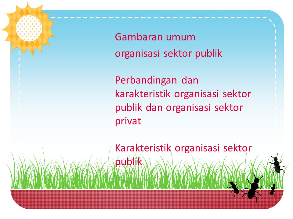 Gambaran umum organisasi sektor publik. Perbandingan dan karakteristik organisasi sektor publik dan organisasi sektor privat.