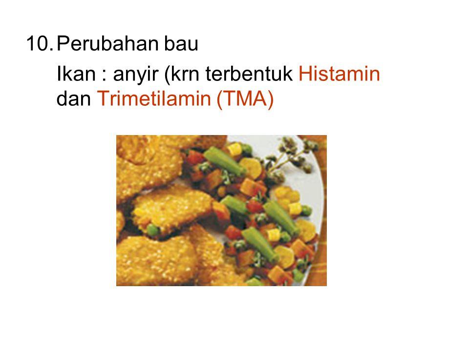 Perubahan bau Ikan : anyir (krn terbentuk Histamin dan Trimetilamin (TMA)