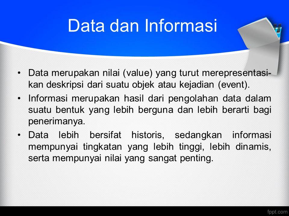 Data dan Informasi Data merupakan nilai (value) yang turut merepresentasi-kan deskripsi dari suatu objek atau kejadian (event).
