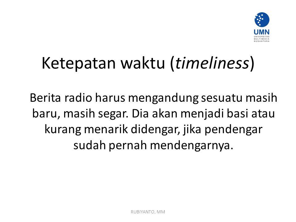 Ketepatan waktu (timeliness)