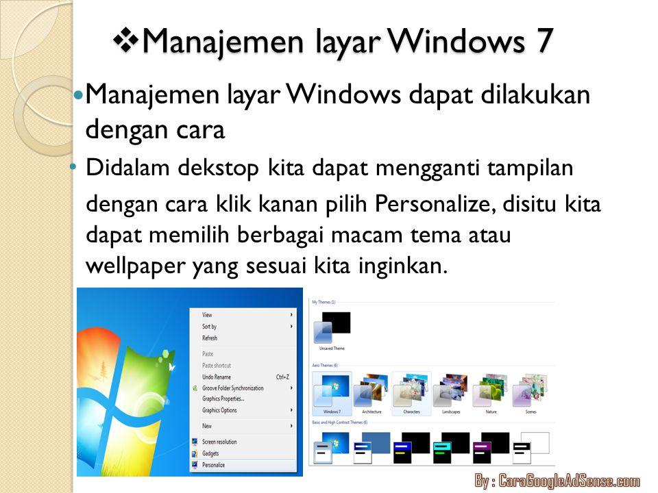 Manajemen layar Windows 7
