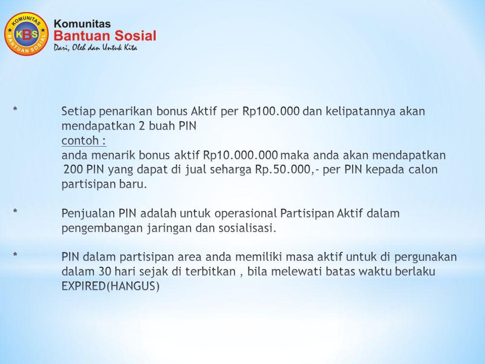 Setiap penarikan bonus Aktif per Rp100. 000 dan kelipatannya akan