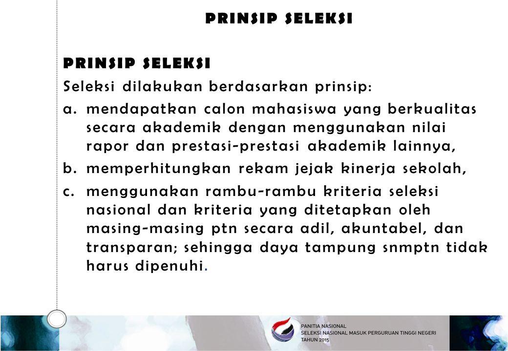 Prinsip seleksi Prinsip Seleksi. Seleksi dilakukan berdasarkan prinsip: