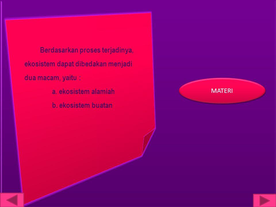 Berdasarkan proses terjadinya, ekosistem dapat dibedakan menjadi dua macam, yaitu :