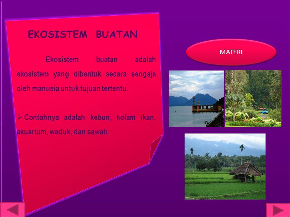 EKOSISTEM BUATAN MATERI. Ekosistem buatan adalah ekosistem yang dibentuk secara sengaja oleh manusia untuk tujuan tertentu.