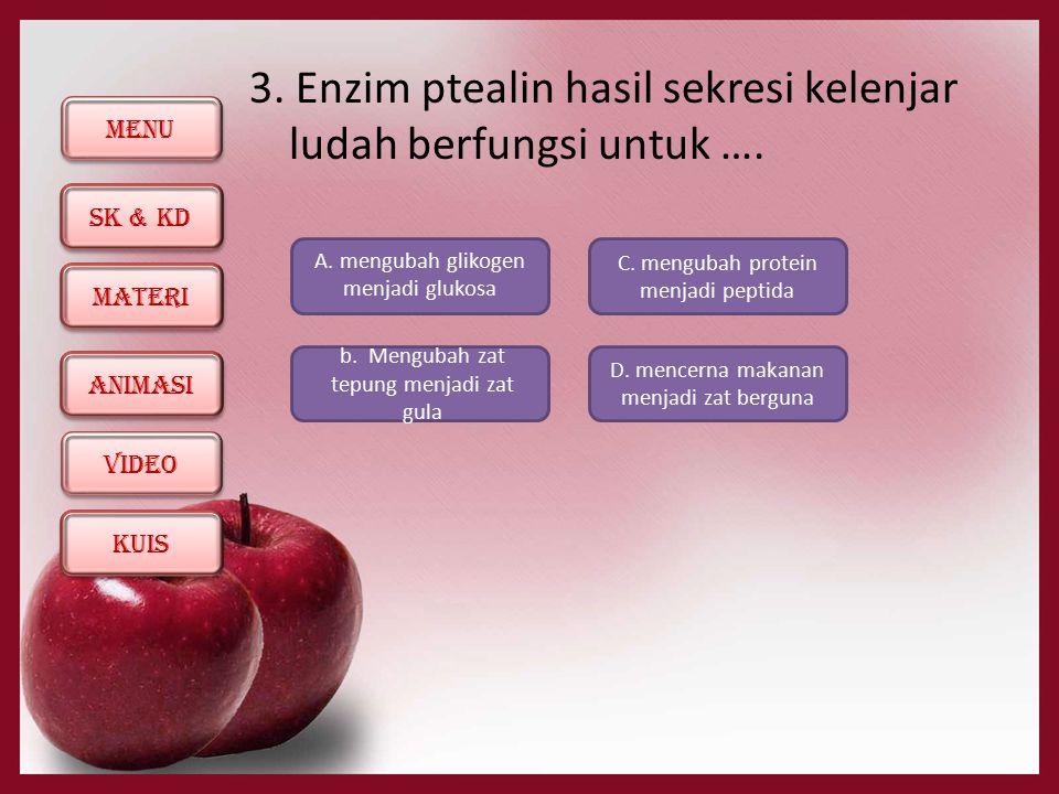 3. Enzim ptealin hasil sekresi kelenjar ludah berfungsi untuk ….