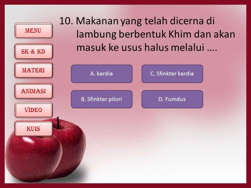 10. Makanan yang telah dicerna di lambung berbentuk Khim dan akan masuk ke usus halus melalui ….