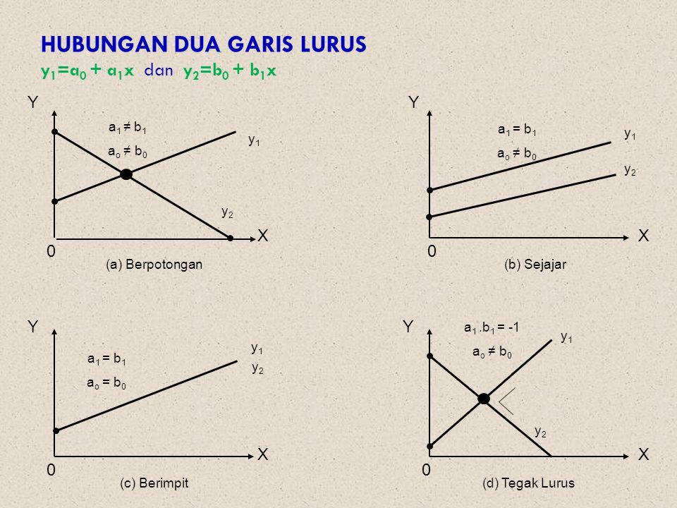 HUBUNGAN DUA GARIS LURUS y1=a0 + a1x dan y2=b0 + b1x