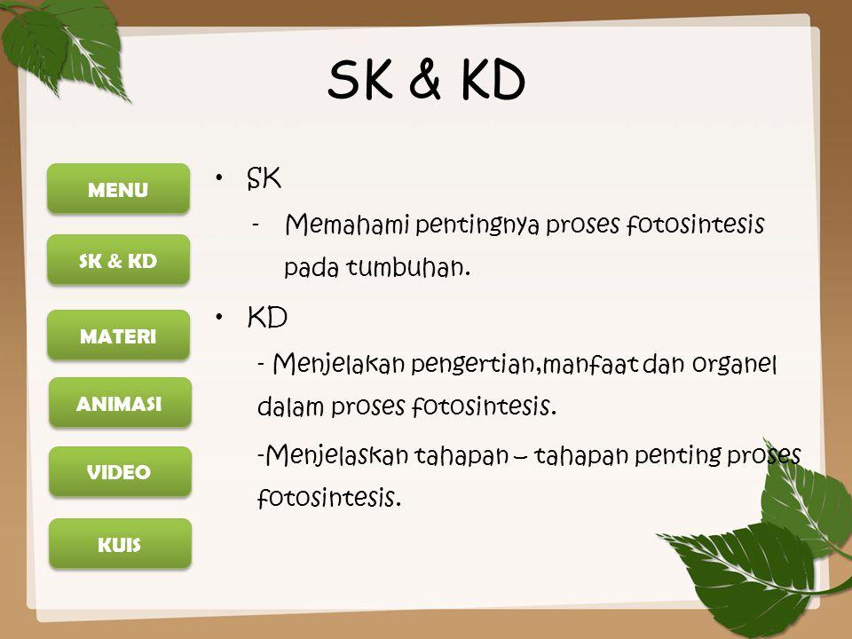 SK & KD SK Memahami pentingnya proses fotosintesis pada tumbuhan. KD
