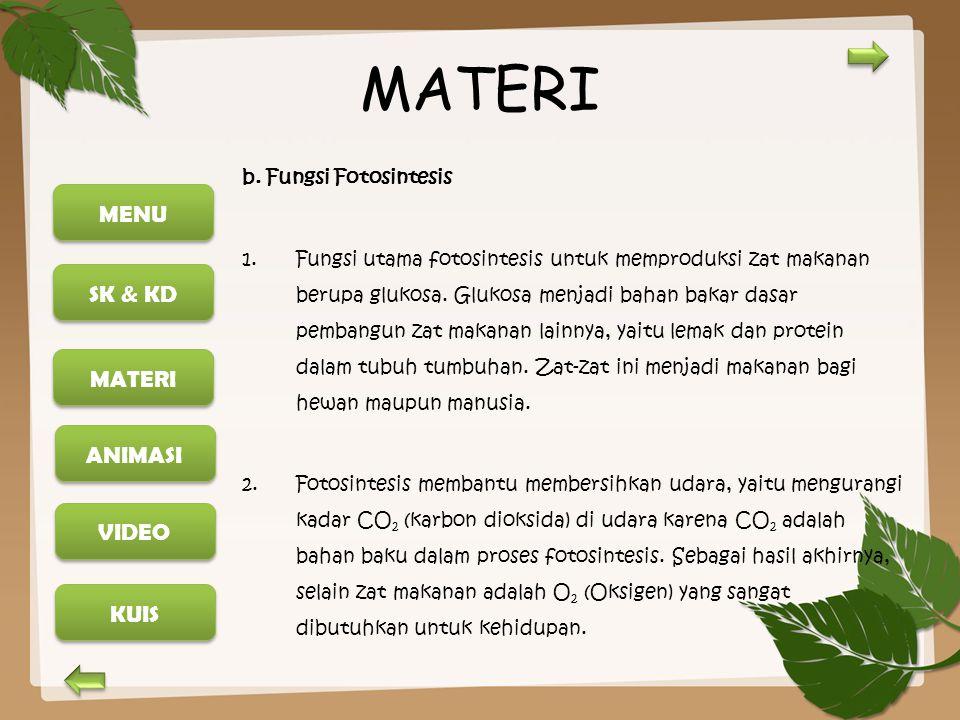 MATERI b. Fungsi Fotosintesis