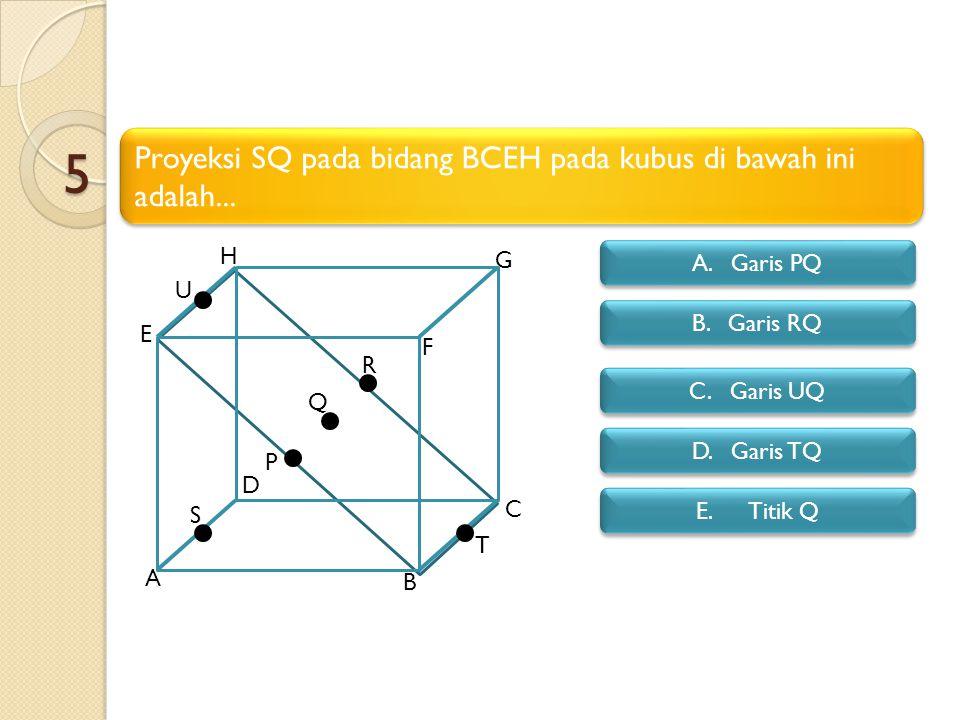 5 Proyeksi SQ pada bidang BCEH pada kubus di bawah ini adalah... H G