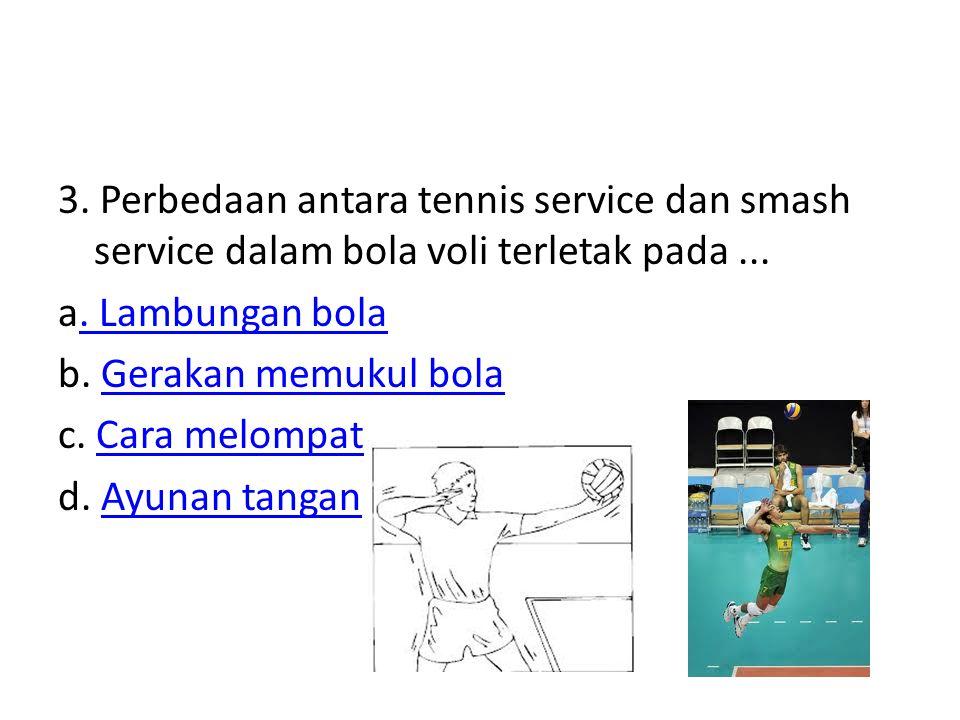 3. Perbedaan antara tennis service dan smash service dalam bola voli terletak pada ...