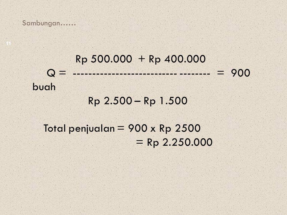 Q = --------------------------- -------- = 900 buah