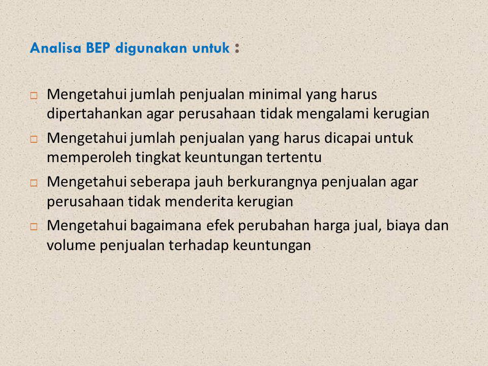 Analisa BEP digunakan untuk :