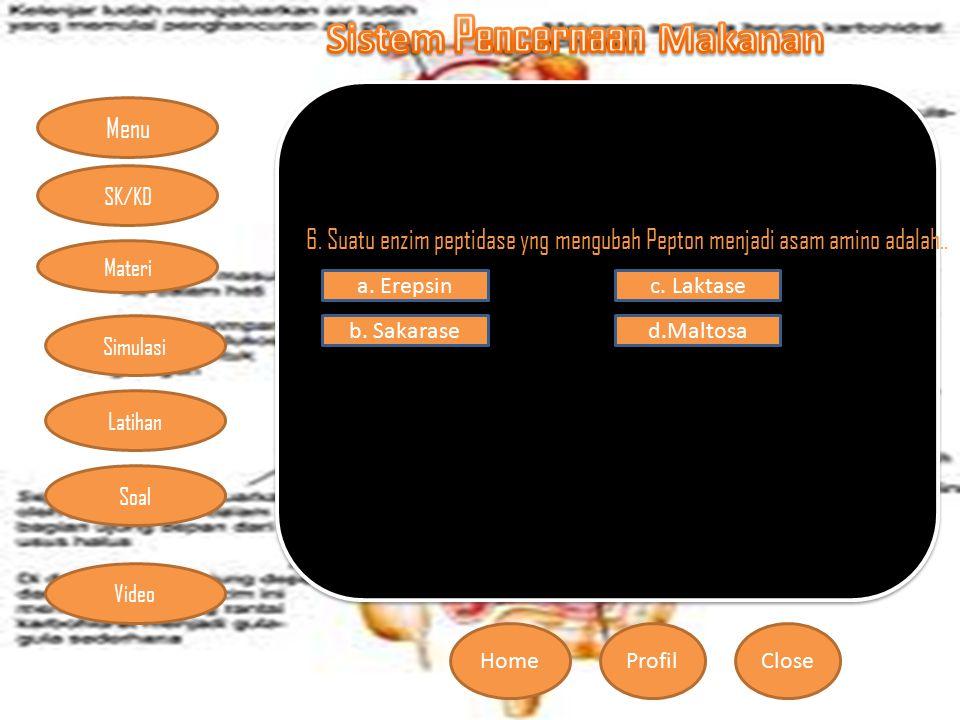 6. Suatu enzim peptidase yng mengubah Pepton menjadi asam amino adalah..