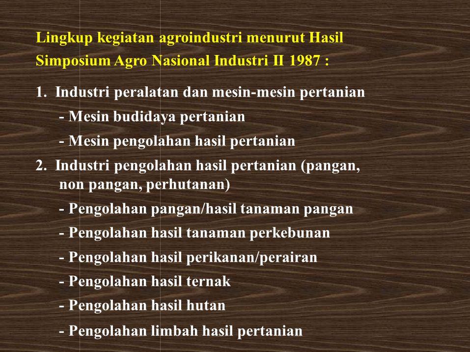Lingkup kegiatan agroindustri menurut Hasil