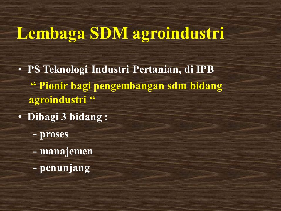Lembaga SDM agroindustri