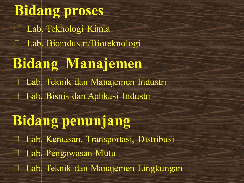 Bidang proses Bidang Manajemen Bidang penunjang • Lab. Teknologi Kimia