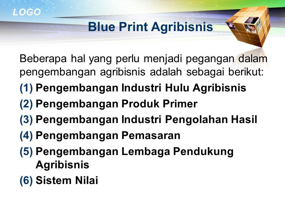 Blue Print Agribisnis Beberapa hal yang perlu menjadi pegangan dalam pengembangan agribisnis adalah sebagai berikut: